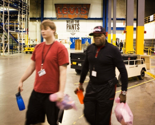 Workmen start their shift at the Levi Strauss & Company's Sky Harbor Distribution Center, 501 Executive Airport Drive, in Henderson on Thursday, Jan. 7,2016. The one million square foot  ...