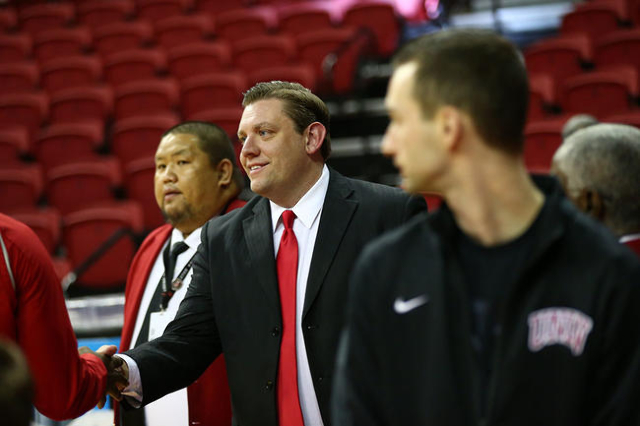 UNLV interim head coach Todd Simon is shown before his team takes on New Mexico in a basketball game at the Thomas & Mack Center in Las Vegas on Tuesday, Jan. 12, 2016. Chase Stevens/Las Vegas ...