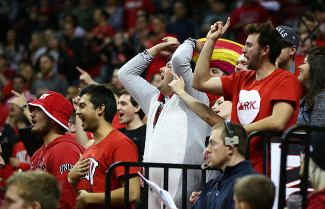 UNLV react as the team plays New Mexico during a basketball game at the Thomas & Mack Center in Las Vegas on Tuesday, Jan. 12, 2016. Chase Stevens/Las Vegas Review-Journal Follow @csstevensphoto
