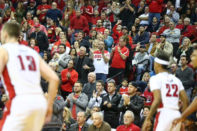 UNLV cheer as the team plays New Mexico during a basketball game at the Thomas & Mack Center in Las Vegas on Tuesday, Jan. 12, 2016. Chase Stevens/Las Vegas Review-Journal Follow @csstevensphoto
