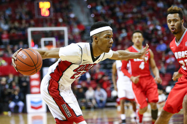 UNLV guard Patrick McCaw (22) drives against New Mexico during a basketball game at the Thomas & Mack Center in Las Vegas on Tuesday, Jan. 12, 2016. UNLV won 86-74. Chase Stevens/Las Vegas Rev ...