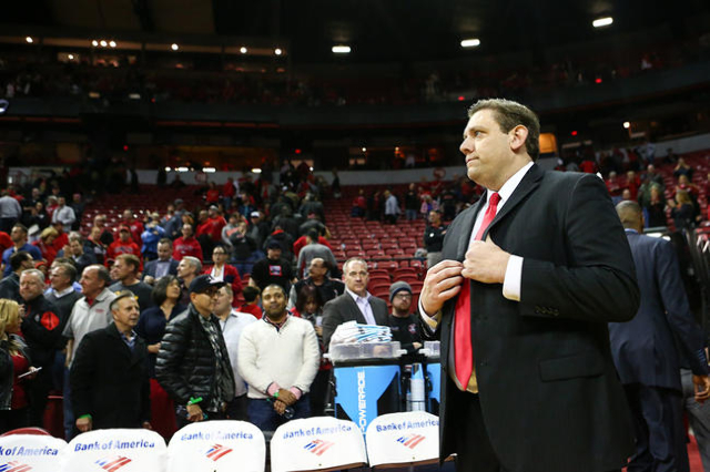 UNLV interim head coach Todd Simon stands after a basketball game against New Mexico at the Thomas & Mack Center in Las Vegas on Tuesday, Jan. 12, 2016. UNLV won 86-74. Chase Stevens/Las Vegas ...