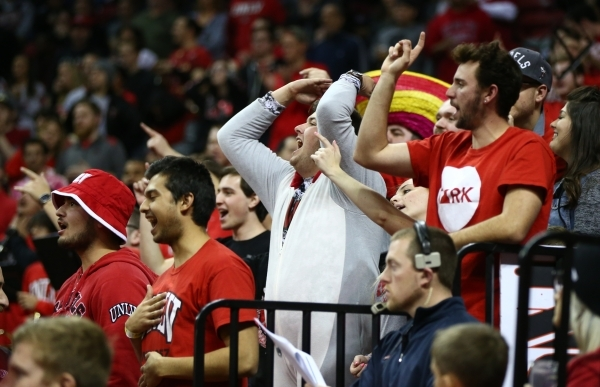 UNLV fans react as the team plays New Mexico during a basketball game at the Thomas & Mack Center in Las Vegas on Tuesday, Jan. 12, 2016. Chase Stevens/Las Vegas Review-Journal Follow @cssteve ...