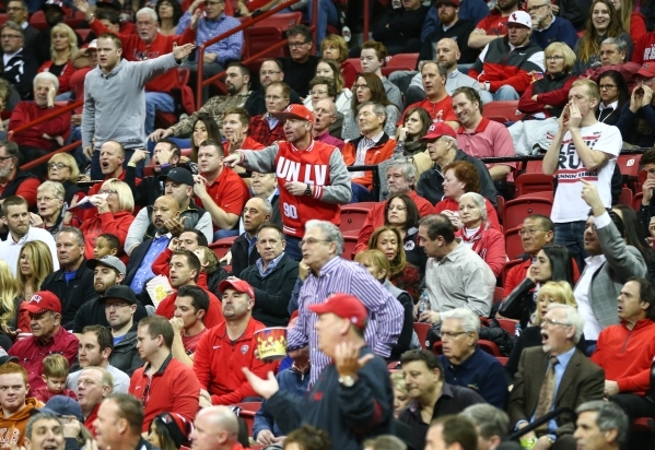 UNLV fans react as the team plays New Mexico during a basketball game at the Thomas & Mack Center in Las Vegas on Tuesday, Jan. 12, 2016. UNLV won 86-74. Chase Stevens/Las Vegas Review-Journal ...