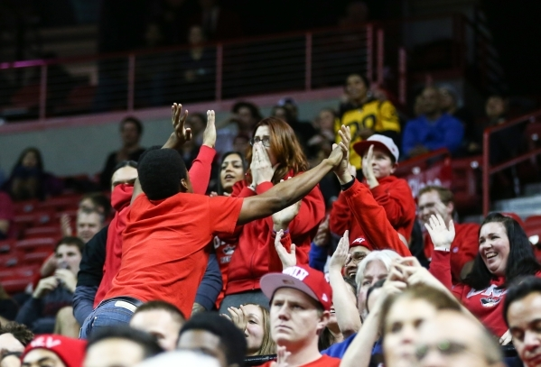 UNLV fans cheer as the team plays New Mexico during a basketball game at the Thomas & Mack Center in Las Vegas on Tuesday, Jan. 12, 2016. UNLV won 86-74. Chase Stevens/Las Vegas Review-Journal ...