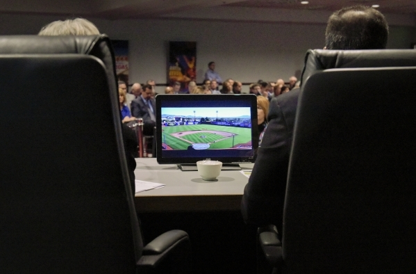 An image of Cashman Field appears on board member's video screens as they hear a presentation on the future of the Cashman facilities during the regular meeting of the Las Vegas Convention a ...