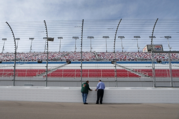 Rick Rosen, a local bus safety advocate, left, talks to a Las Vegas Review-Journal reporter at the Las Vegas Motor Speedway on Thursday, Jan. 14, 2016, in Las Vegas. Rosen and a partner are develo ...