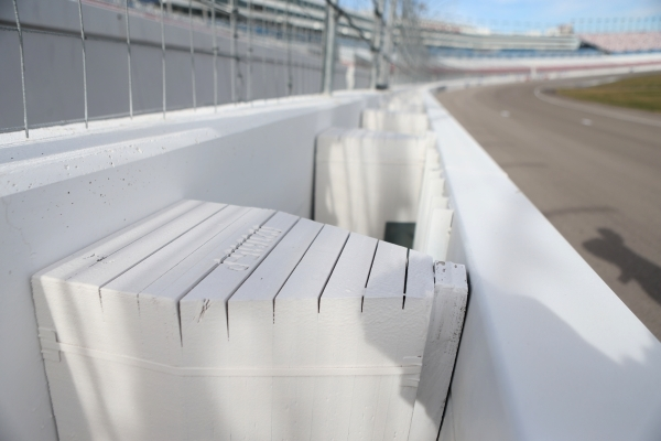The impact barrier at the Las Vegas Motor Speedway is seen Thursday, Jan. 14, 2016, in Las Vegas. The Regional Transportation Commission is considering using a similar barrier and materials now us ...