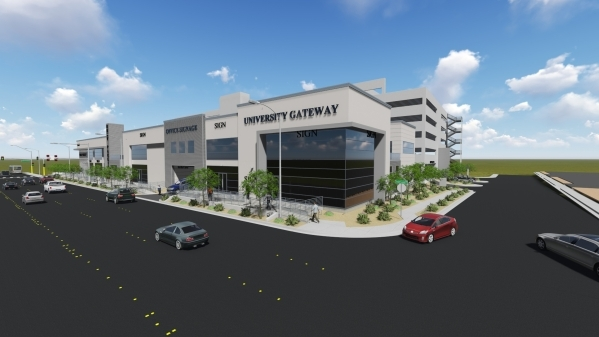 A rendering shows a view of the University Gateway project, an $18 million complex that includes a 7-story parking garage. Officials broke ground on the project on Tuesday. Courtesy, Frank Marrett ...