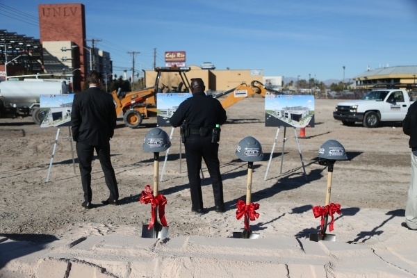 The future site of the University Gateway project at the intersection of South Maryland Parkway and Dorothy Avenue is seen during the groundbreaking ceremony on Tuesday, Jan. 12, 2016, in Las Vega ...