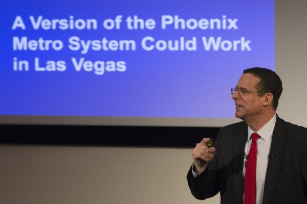 Robert E. Lang, UNLV director with Brookings Mountain West, speaks during a community forum about bringing light rail to The Las Vegas Valley at UNLV's Greenspun Hall Auditorium in Las Vegas ...
