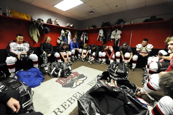 UNLV club hockey players suit up prior to their game against San Diego State at Sobe Ice Arena inside the Fiesta hotel-casino in Las Vegas Saturday, Feb. 8, 2014. Josh Holmberg/Las Vegas Review Jo ...