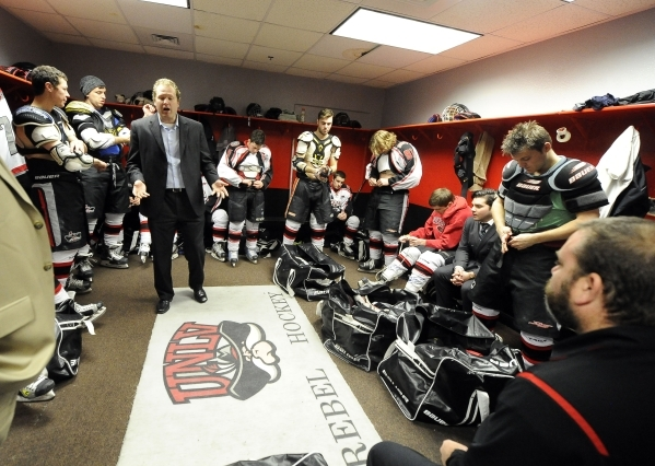 UNLV club hockey head coach J.J. Hartmann gives a pep talk inside the locker room prior to their game against San Diego State at Sobe Ice Arena inside the Fiesta hotel-casino in Las Vegas Saturday ...