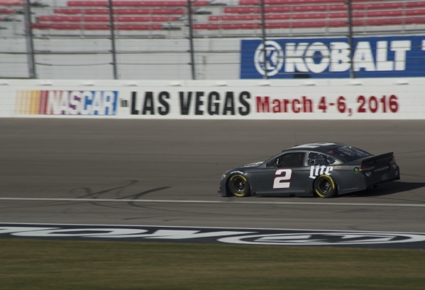 Brad Keselowski (2) races around the track while testing tires for NASCAR and Goodyear at the Las Vegas Motor Speedway on Wednesday, Jan. 13, 2016. Daniel Clark/Las Vegas Review-Journal Follow @Da ...
