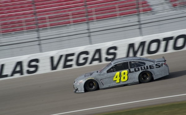 Jimmie Johnson (48) races around the track while testing tires for NASCAR and Goodyear at the Las Vegas Motor Speedway on Wednesday, Jan. 13, 2016. Daniel Clark/Las Vegas Review-Journal Follow @Da ...