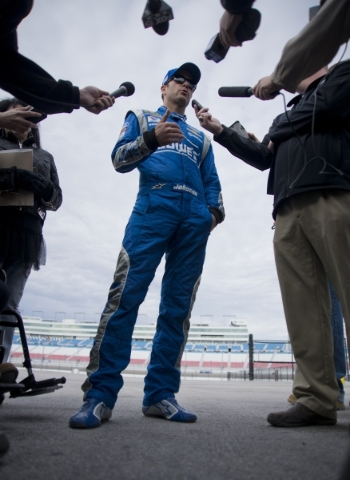 Jimmie Johnson (48) answers questions from the media after spending time on the track testing tires for NASCAR and Goodyear at the Las Vegas Motor Speedway on Wednesday, Jan. 13, 2016. Daniel Clar ...