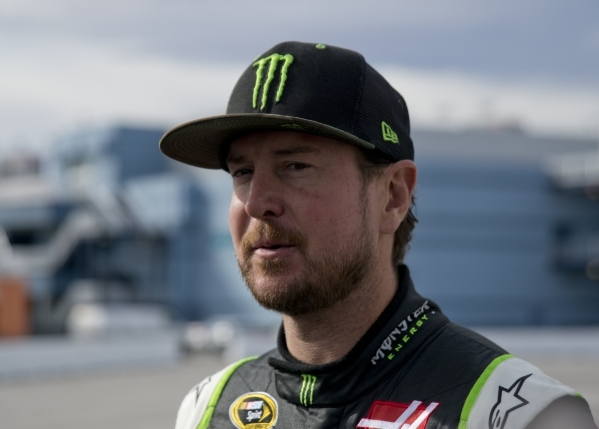 Kurt Busch (41) answers questions from the media after spending time on the track testing tires for NASCAR and Goodyear at the Las Vegas Motor Speedway on Wednesday, Jan. 13, 2016. Daniel Clark/La ...