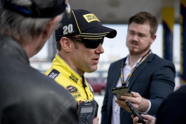 Matt Kenseth (20) answers questions from the media after spending time on the track testing tires for NASCAR and Goodyear at the Las Vegas Motor Speedway on Wednesday, Jan. 13, 2016. Daniel Clark/ ...