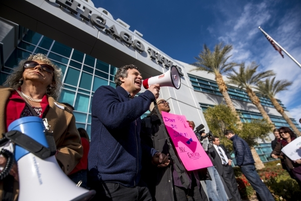 Actor Mark Ruffalo speaks to the crowd during a solar energy rally at the PUC offices in Las Vegas on Wednesday, Jan. 13, 2016. Joshua Dahl/Las Vegas Review-Journal.