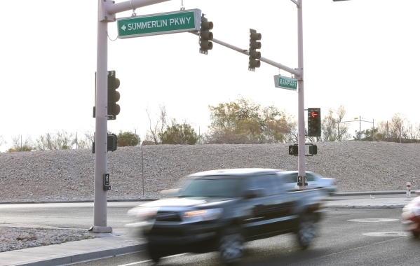 A woman was killed Wednesday, Jan. 13, 2016, on Summerlin Parkway near Rampart Boulevard after her vehicle went off the road and overturned. The driver who was not wearing a seatbelt, was ejected  ...
