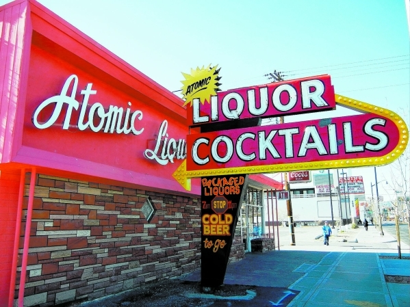 The old Atomic Liquors sign is shown outside the once-closed bar at 917 Fremont St., on Jan. 28, 2011, in Las Vegas. (Kristi Jourdan/View)