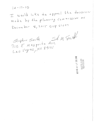 The Rev. Stephen Smith submitted this appeal letter to the city of Las Vegas, appealing a city Planning Commission decision to recommend approval of a special use permit for the Atomic Kitchen tav ...