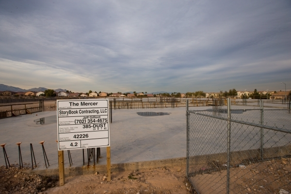 Construction for The Mercer, a 175-unit  apartment complex being built by Storybook Homes, at Tropicana Avenue and Grand Canyon Drive, is shown in Las Vegas on Wednesday, Jan. 13, 2016. The projec ...