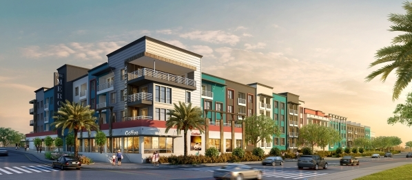 A rendering shows The Mercer, a 175-unit apartment complex being built by Storybook Homes. (Courtesy)