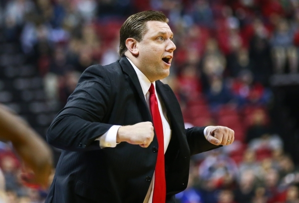UNLV interim head coach Todd Simon reacts during a basketball game against New Mexico at the Thomas & Mack Center in Las Vegas on Tuesday, Jan. 12, 2016. UNLV won 86-74. Chase Stevens/Las Vega ...