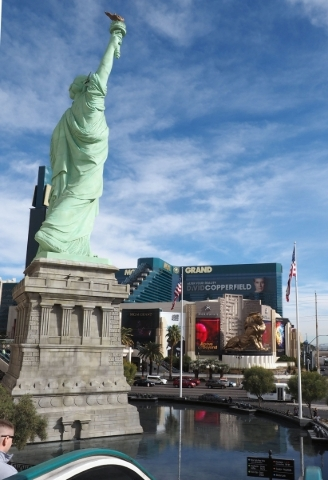 The replica of the Statue of Liberty at New York-New York hotel-casino is seen with the MGM Grand in the background on the Las Vegas Strip, Thursday, Jan. 14, 2016. New York-New York is owned by M ...