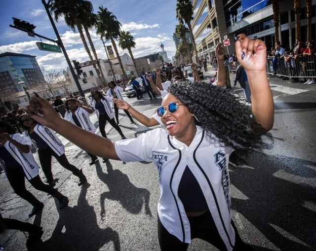Jorden Glover dances in  the Martin Luther King parade on 4th Street in Downtown Las Vegas on Monday, Jan. 2016. Jeff Scheid/Las Vegas Review-Journal Follow @jlscheid
