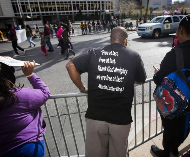 Marvin King watches the Martin Luther King parade on 4th Street in Downtown Las Vegas on Monday, Jan. 2016. Jeff Scheid/Las Vegas Review-Journal Follow @jlscheid