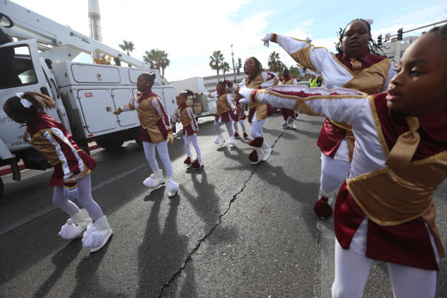 Members of the Free Agents Drum Squad practice while they wait for the Martin Luther King Jr. Parade to start in Downtown Las Vegas Monday, Jan. 18, 2016. Rachel Aston/Las Vegas Review-Journal Fol ...