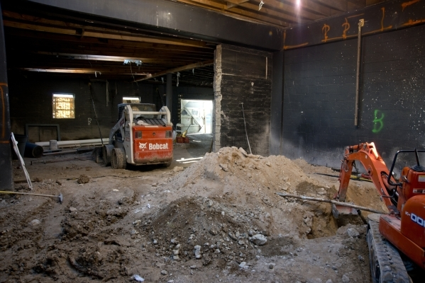 The garage Lance Johns is currently renovating into Atomic Kitchen, immediately next door to Atomic Liquors, is seen in Downtown Las Vegas on Friday, Jan. 15, 2016. His project is experiencing pus ...