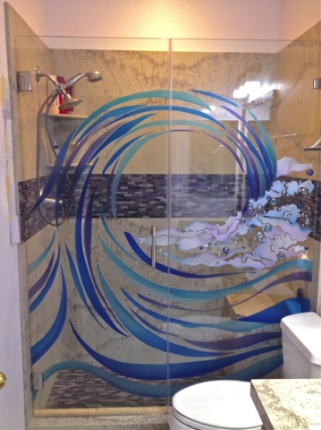 """Leslie Rankin of Glassic Art made this shower enclosure for a client who was on a very tight budget . The enclosure was frosted, colored and embellished with glass globs to give it a """"wave&qu ..."""