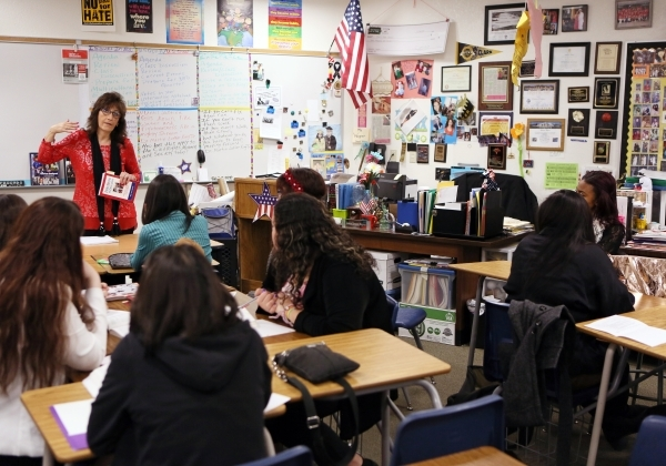 Social studies teacher Luanne Wagner, left, speaks to a senior´s Teach Academy class at Clark High School Friday, Jan. 15, 2016, in Las Vegas. Wagner, who has taught at Clark for 18 years, emph ...