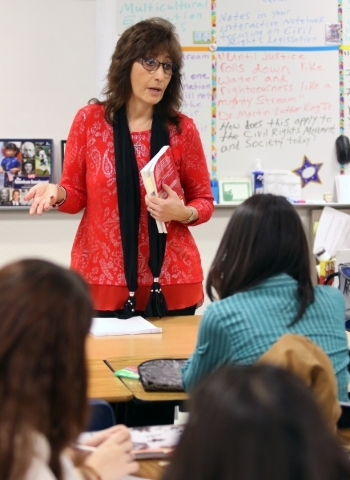 Social studies teacher Luanne Wagner speaks to students during a senior´s Teach Academy class at Clark High School Friday, Jan. 15, 2016, in Las Vegas. Wagner, who has taught at Clark for 18 ye ...