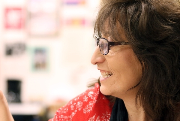 Social studies teacher Luanne Wagner smiles while she speaks about her love of her job at Clark High School Friday, Jan. 15, 2016, in Las Vegas. Wagner, who has taught at Clark for 18 years, empha ...