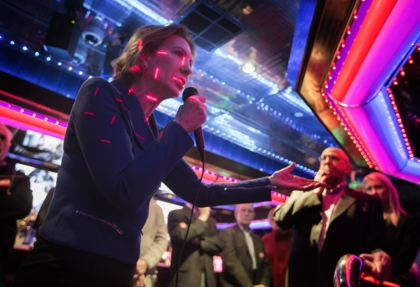 Republican presidential candidate Carly Fiorina speaks at the Peppermill Fireside Lounge, 2985 S. Las Vegas Boulevard, on Monday, Jan. 2016. Jeff Scheid/Las Vegas Review-Journal Follow @jlscheid