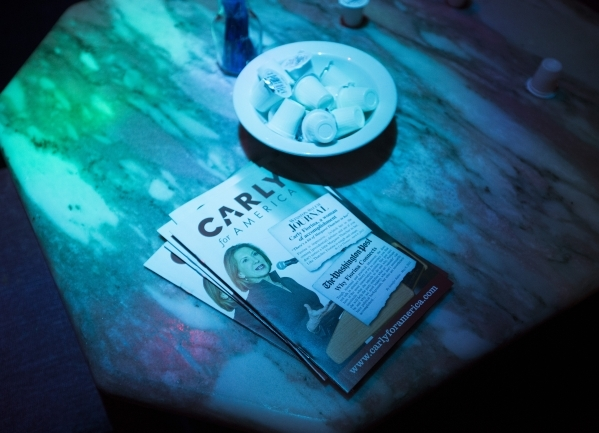 Brochures sit on a table for Republican presidential candidate Carly Fiorina at the Peppermill Fireside Lounge, 2985 S. Las Vegas Boulevard, on Monday, Jan. 2016. Jeff Scheid/Las Vegas Review-Jour ...
