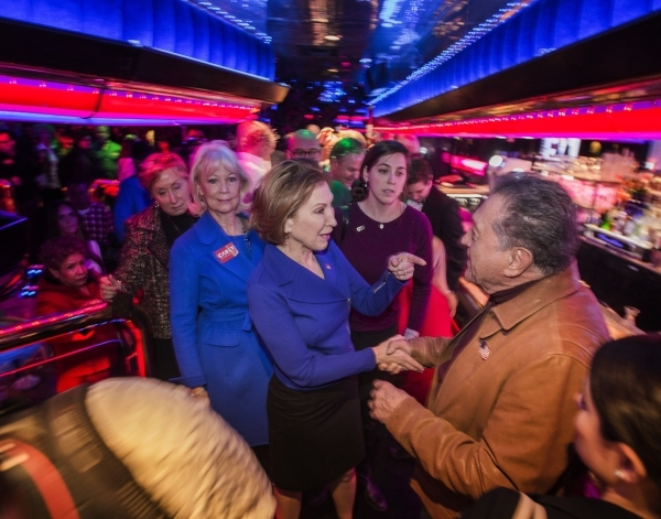 Republican presidential candidate Carly Fiorina talks to a supporter during a rally  at the Peppermill Fireside Lounge, 2985 S. Las Vegas Boulevard, on Monday, Jan. 2016. Jeff Scheid/Las Vegas Rev ...