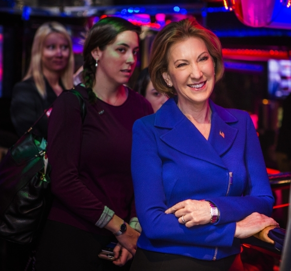 Republican presidential candidate Carly Fiorina, right, smiles while being introduced  at the Peppermill Fireside Lounge, 2985 S. Las Vegas Boulevard, on Monday, Jan. 2016. Jeff Scheid/Las Vegas R ...