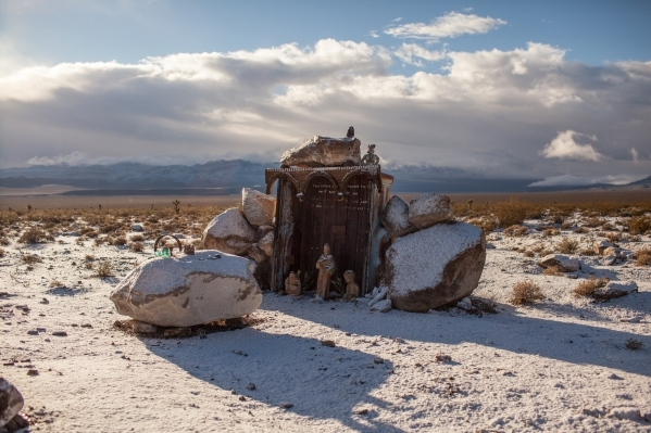 A shrine is seen five miles into the nine-mile dirt road to the Hard Luck Mine Castle in Esmeralda County on Friday, Jan. 15, 2016. (Randi Lynn Beach/Las Vegas Review-Journal)