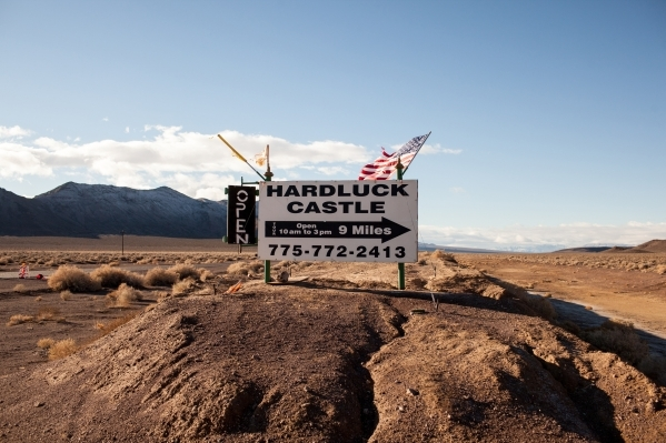 The beginning of a nine-mile dirt road to the Hard Luck Mine Castle in Esmeralda County is seen Friday, Jan. 15, 2016. The Hard Luck Mine Castle is for sale. (Randi Lynn Beach/Las Vegas Review-Jou ...