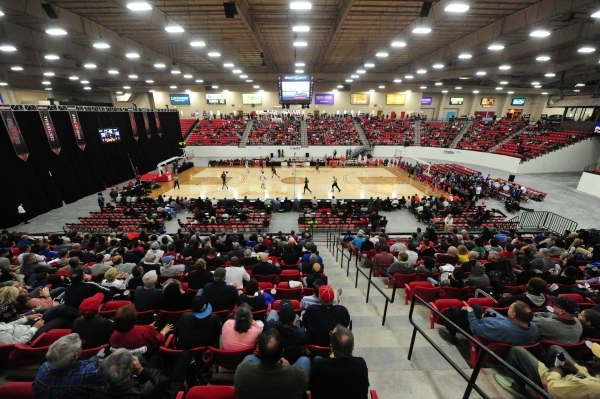 The South Point Arena is seen during a prep basketball game between Findlay Prep and Bishop Gorman in Las Vegas Saturday, Jan. 23, 2016. Bishop Gorman upset Findlay Prep 77-71. Josh Holmberg/Las V ...