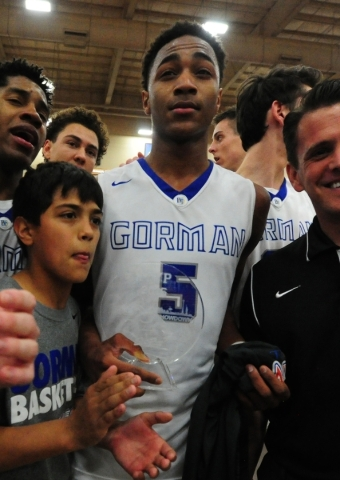 Bishop Gorman guard Chuck O'Bannon Jr. was named the game's MVP during their prep basketball game against Findlay Prep at the South Point Arena in Las Vegas Saturday, Jan. 23, 2016. Bi ...