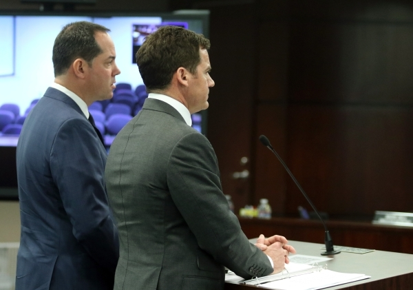 Station Casinos' Marc Falcone, left, chief financial officer, and Richard Haskins, president, go before the Gaming Control Board at Grant Sawyer building Thursday, Jan. 21, 2016, in Las Vega ...