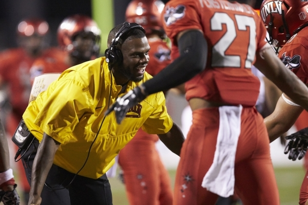 Former UNLV player C.J. Cox, shown during UNLV's 80-8 win over Idaho State at Sam Boyd Stadium on Saturday, Sept. 26, 2015, is the Rebels' new recruiting coordinator. Courtesy, Aaron M ...