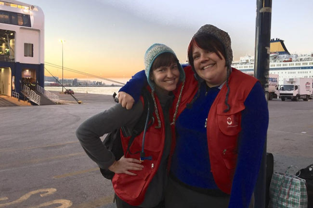 Las Vegas resident Devin Raman, left, and Sara Gilliam pose for a photo at Port of Piraeus, Greece. Raman and Gilliam volunteered with Glendale, Calif.-based nonprofit Carry the Future, an organiz ...
