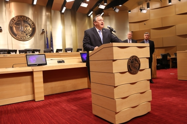 Mayor Pro Tem Steven D. Ross announces that he is sponsoring a city ordinance that will create Special Improvement districts for solar panels in Las Vegas at the City Council Chambers Tuesday, Jan ...